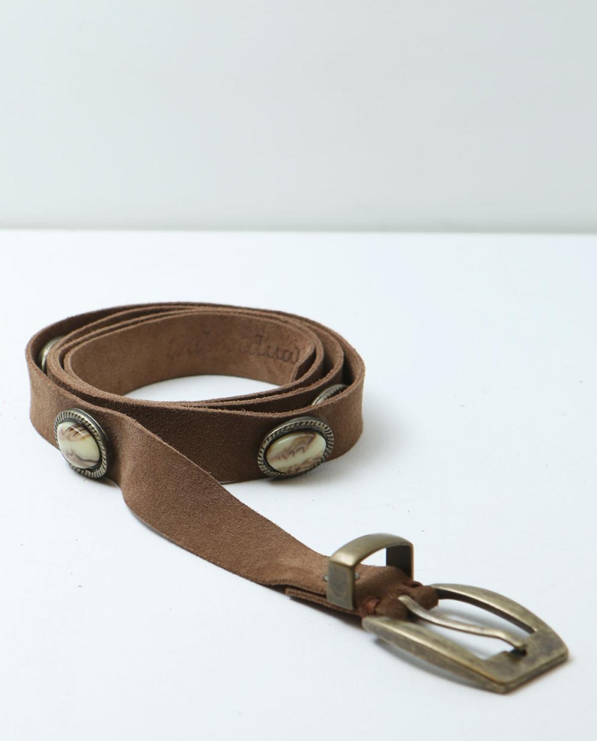 Skin Embellished Suede Leather Belt