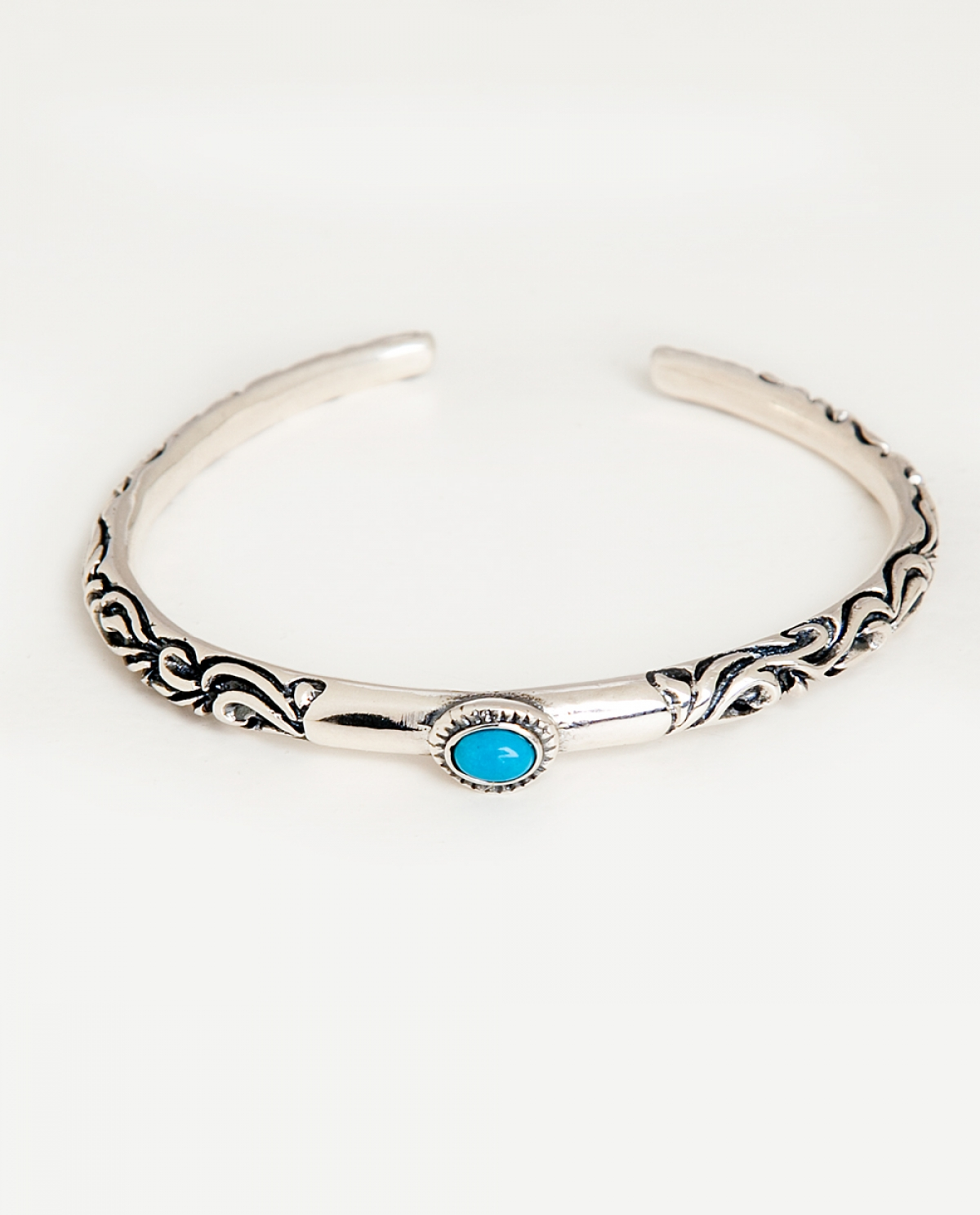Skylar Engraved Beaded Silver Bracelet