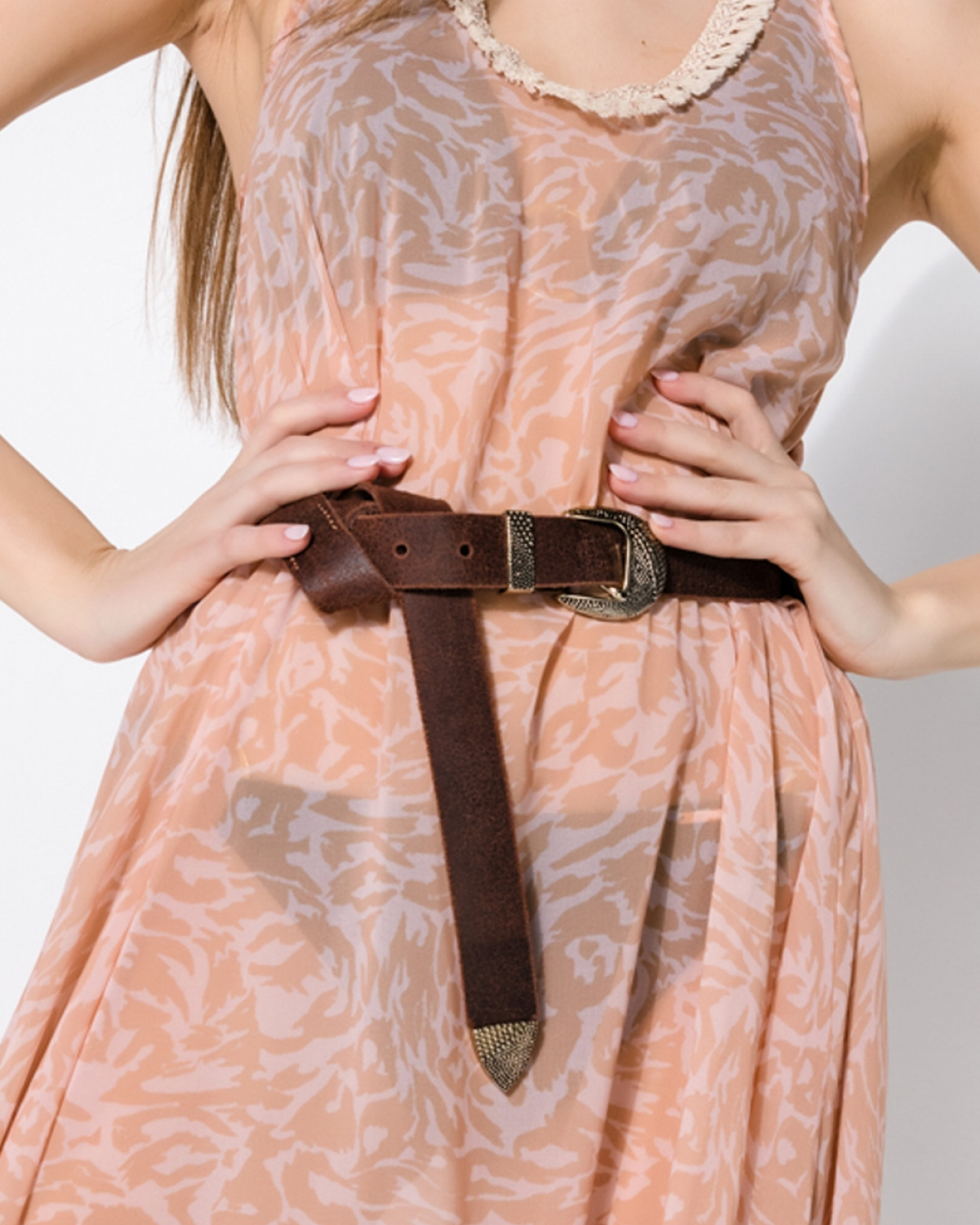 Slender Brown Leather Belt