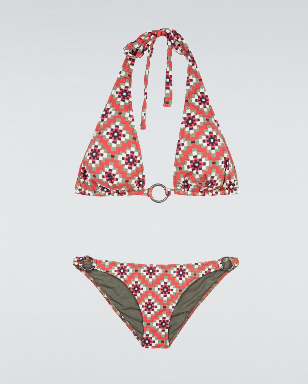 Smaragda Red Squared Halter Bikini