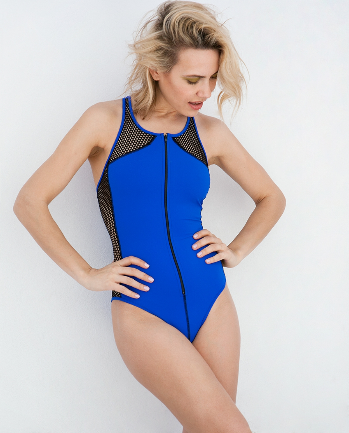 Sporty Zipper Blue Swimsuit