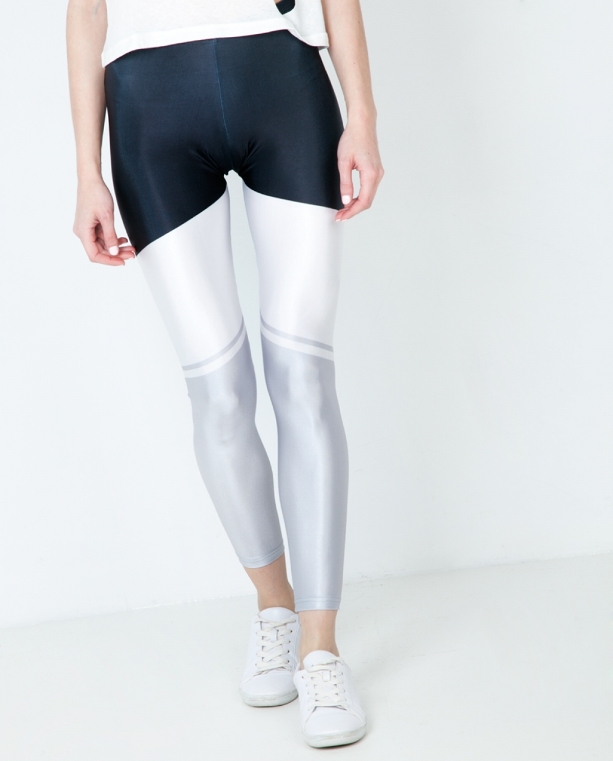 Stripes Band White Leggings