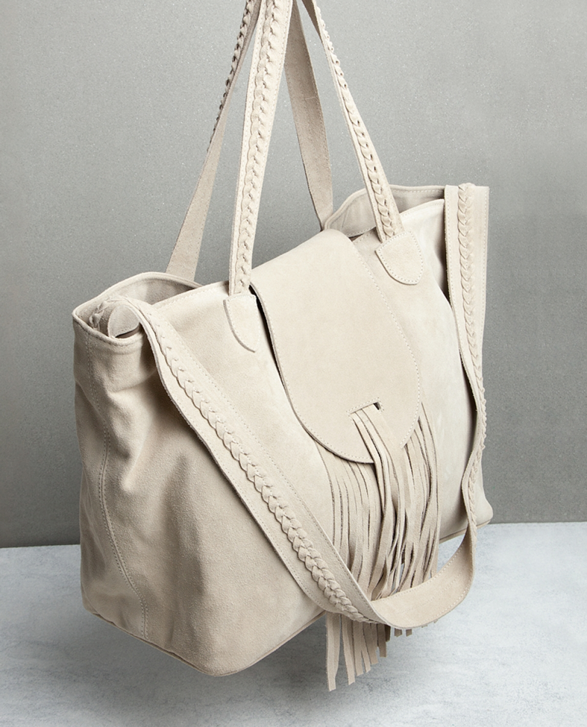 Suede Fringed Shoulder Bag