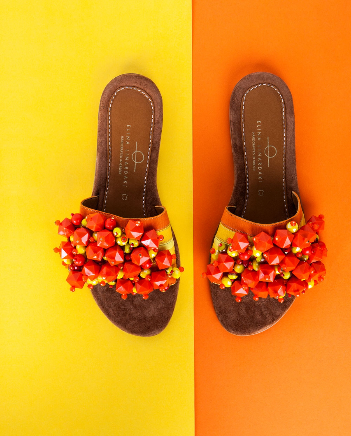 Tangerine Embellished Sandals
