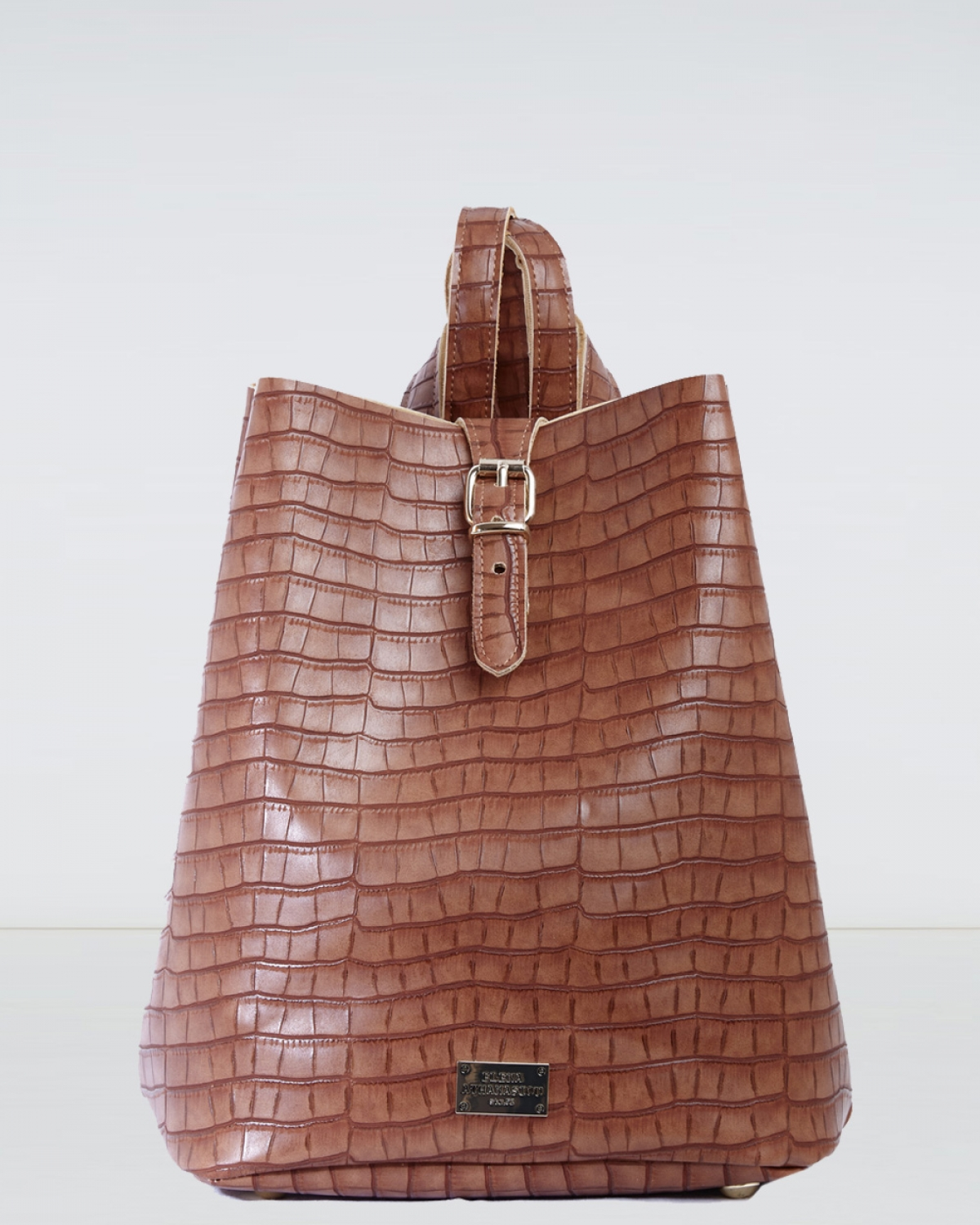 Taupe Croco Pattern Backpack