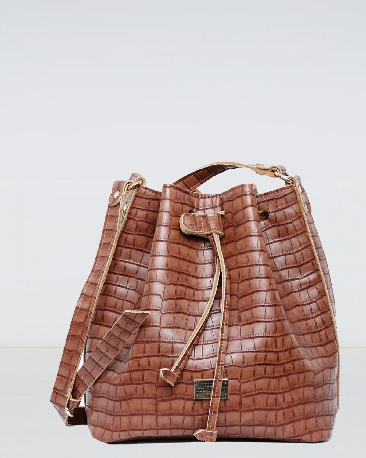 Taupe Croco Pattern Pouch Bag