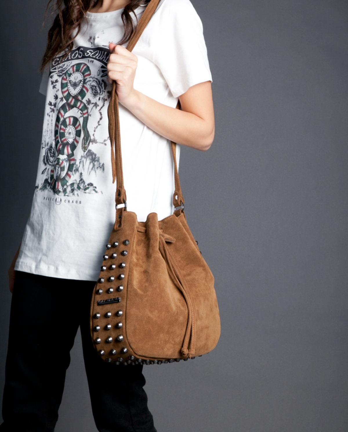 Taupe Suede Bling Bucket Bag
