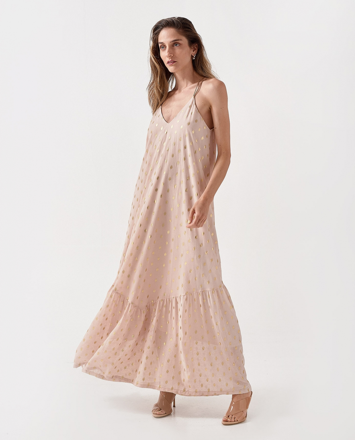 Tiered Maxi Beige Dress