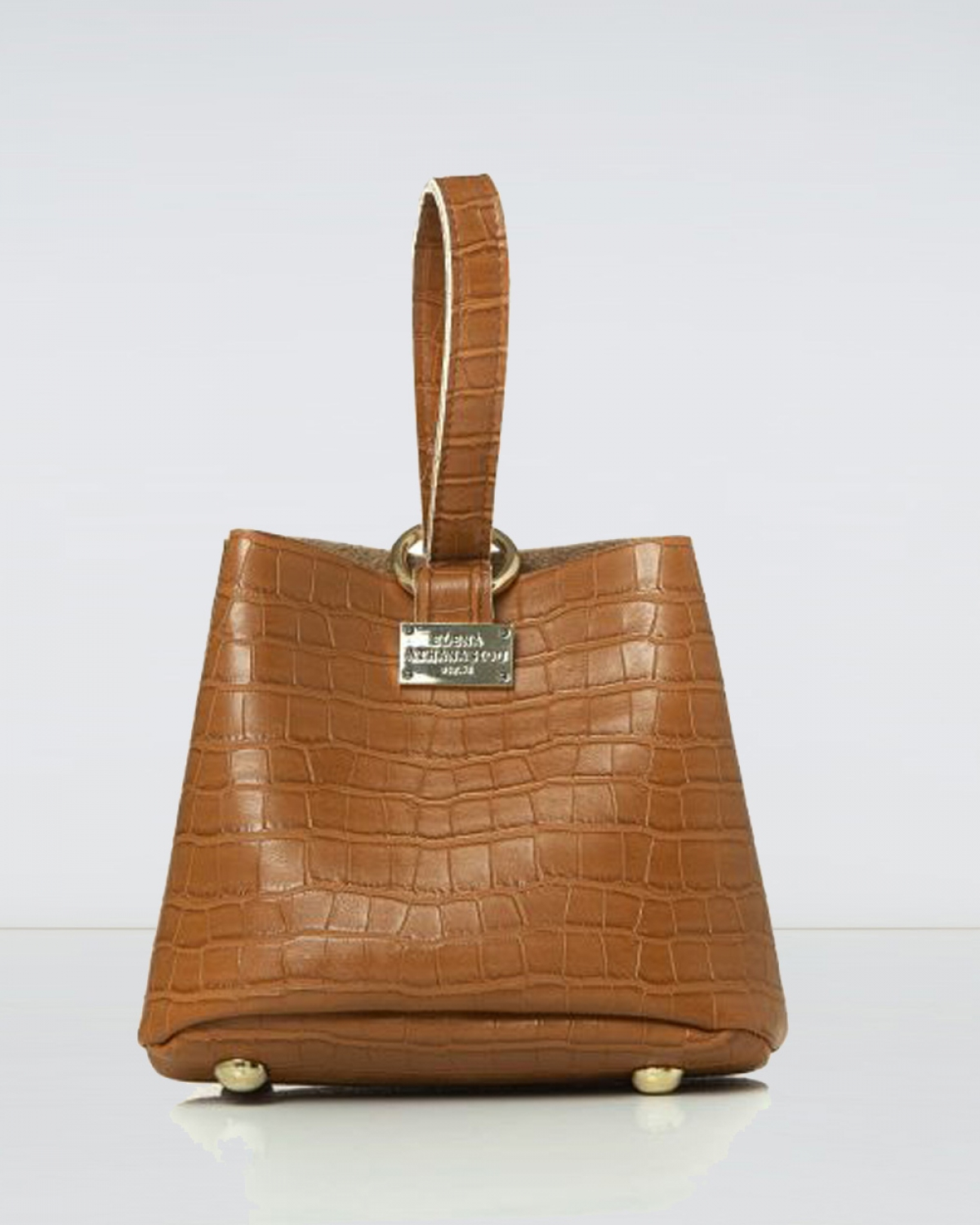 Tiny Croco Cognac Bag