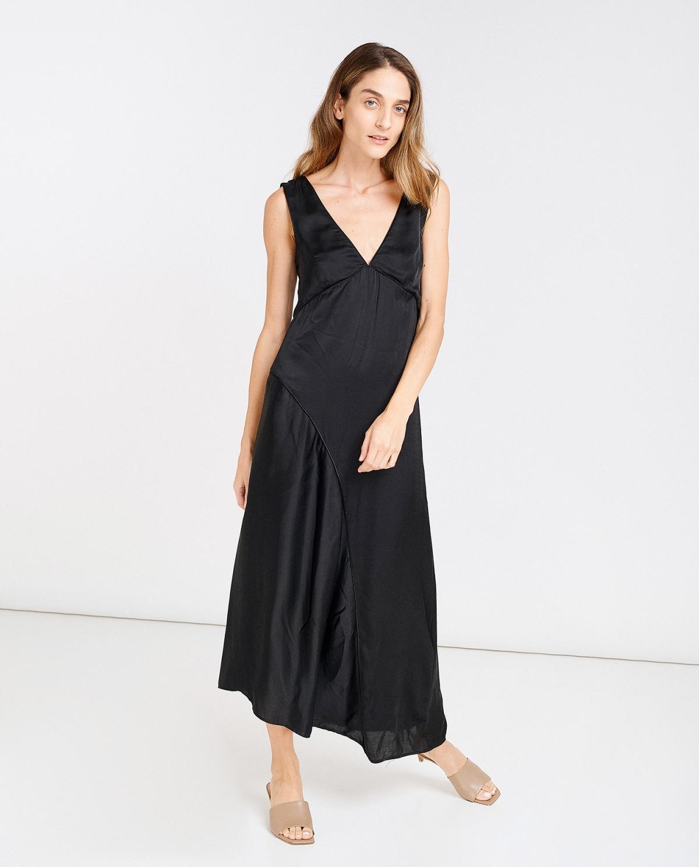 V-Neck Plisse Dress