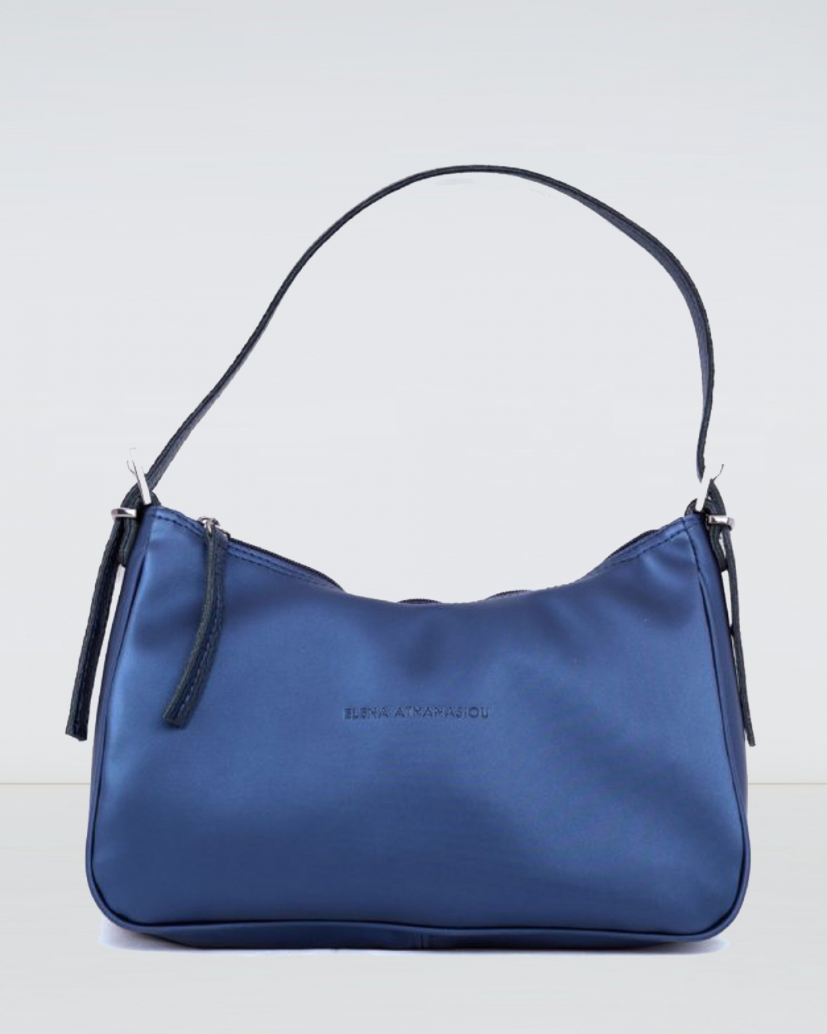 Vintage Baguette Metallic Blue Bag