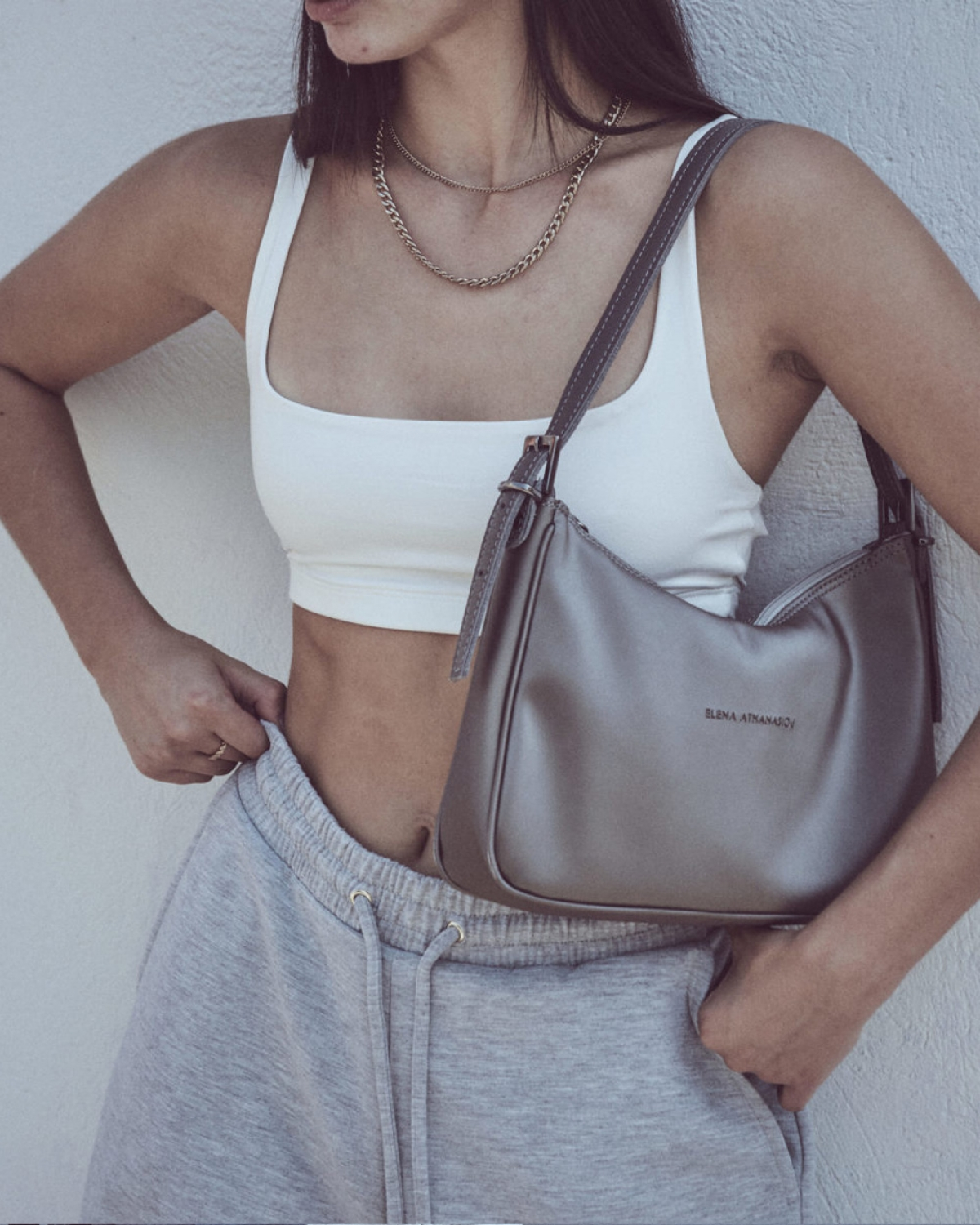 Vintage Baguette Metallic Grey Bag