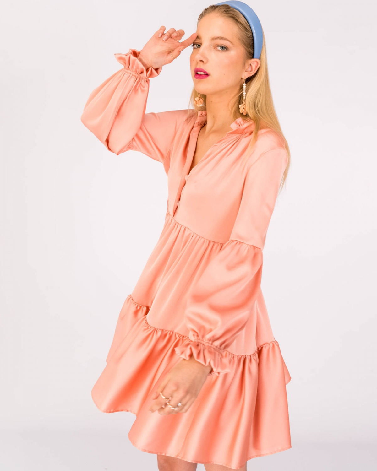 Violetta Ruffled Peach Dress
