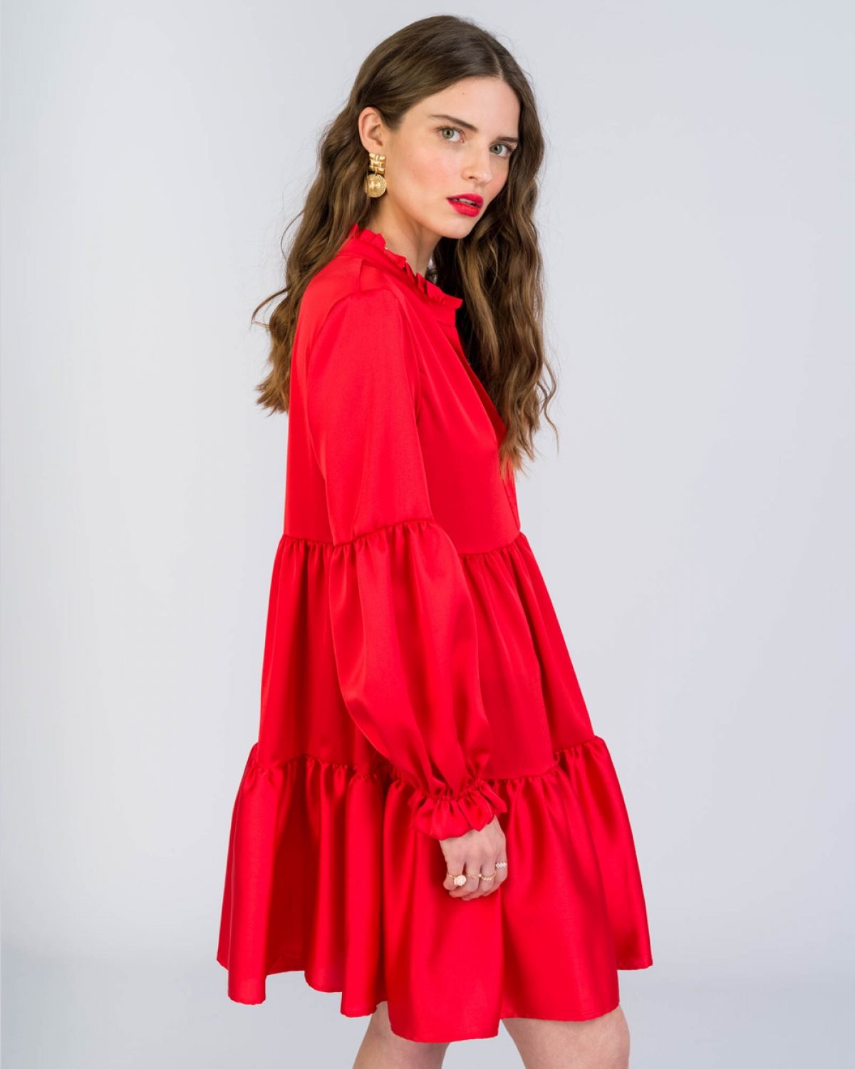 Violetta Ruffled Red Dress