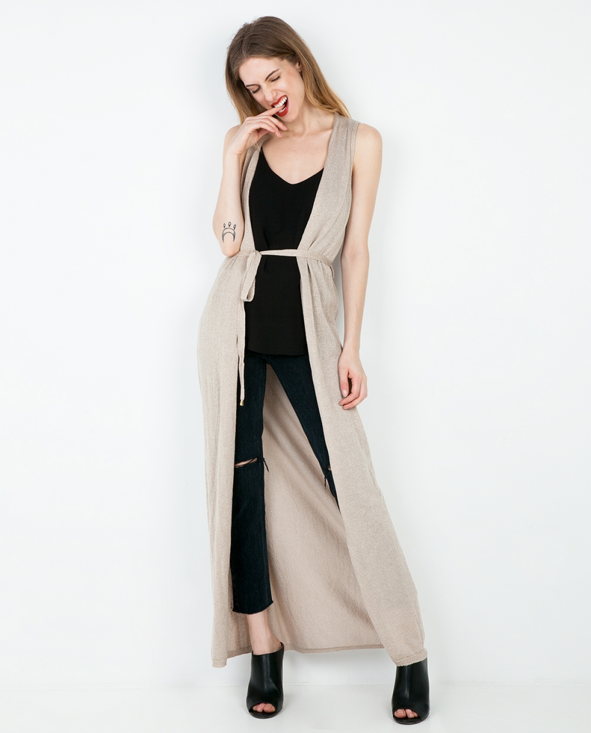 Viscose-knitted Long Cardigan