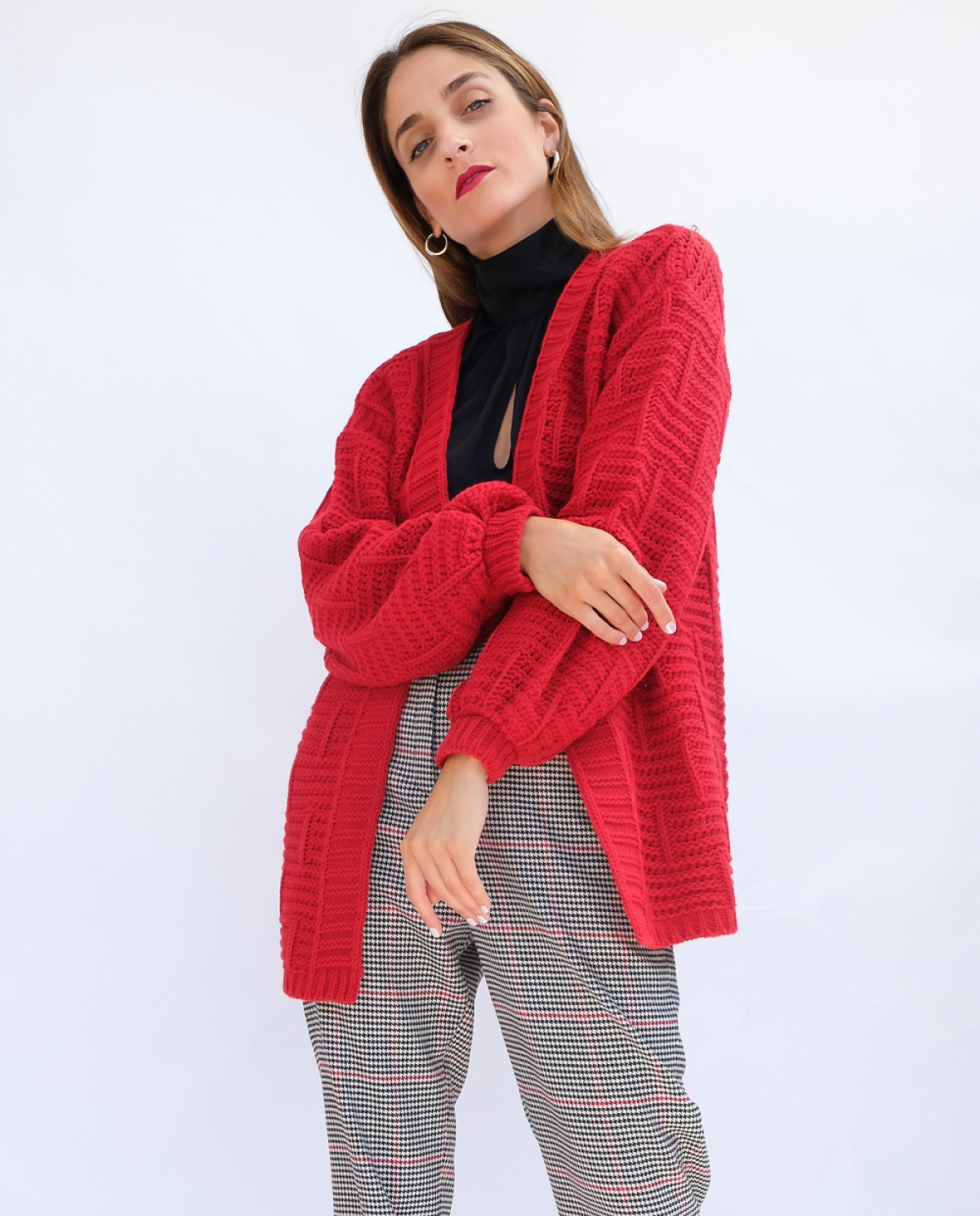 Vivid Red Kntitted Cardigan