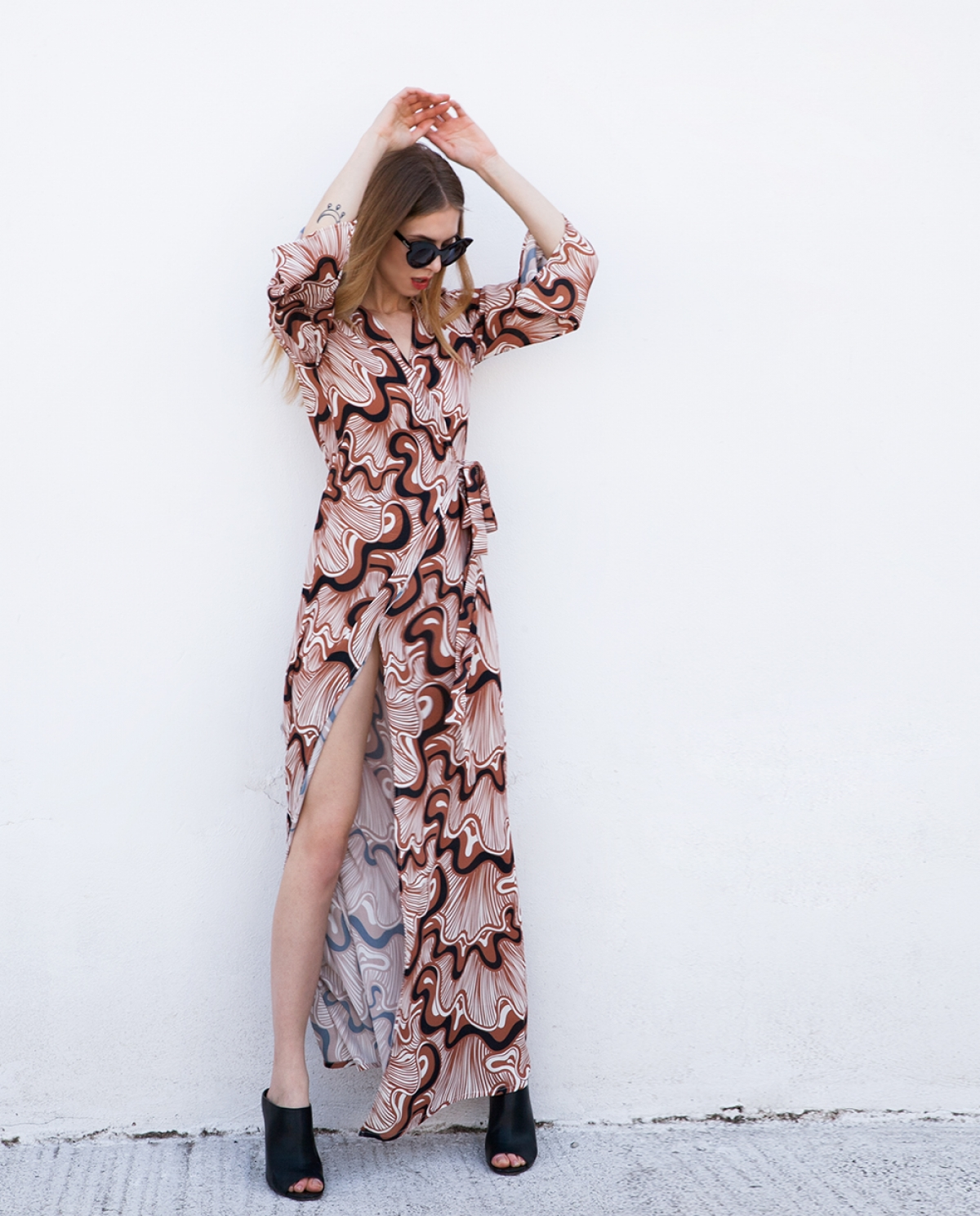 Waterfall Printed Kaftan Dress