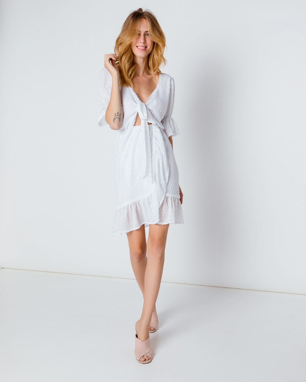 White Over the Knee Wrap Dress