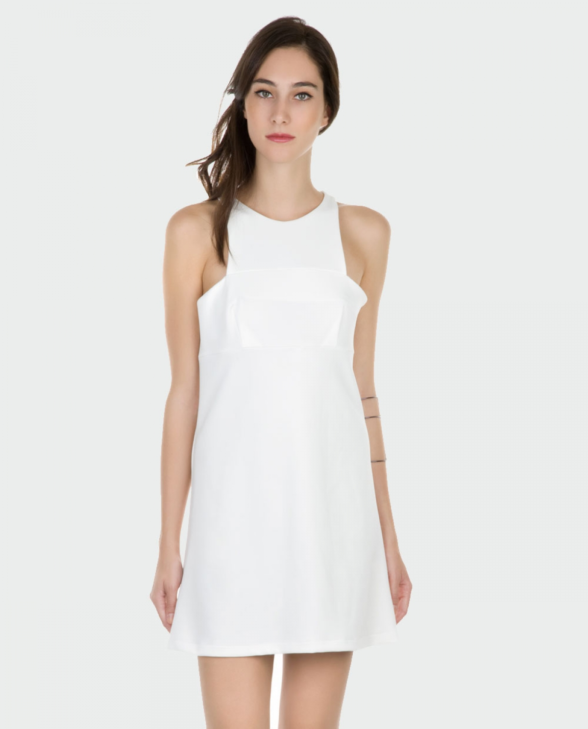 White Paneled Mini Dress
