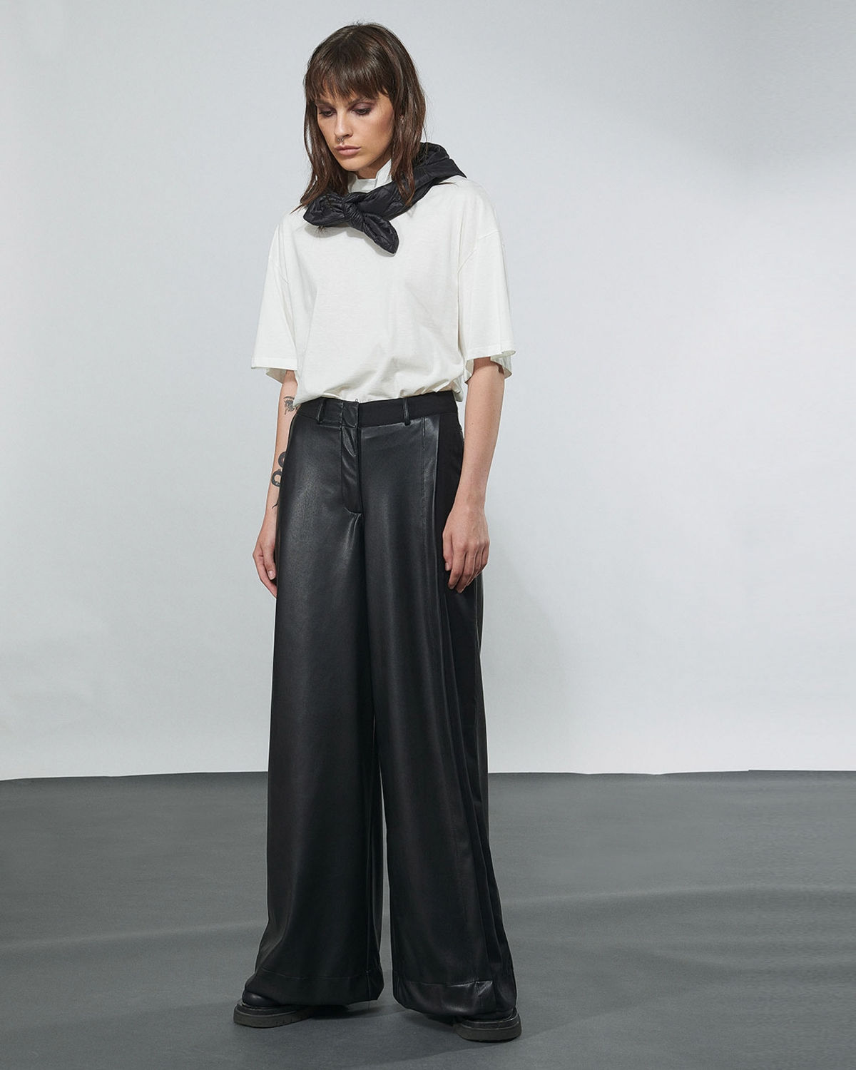 Wide Leg Leather Trousers