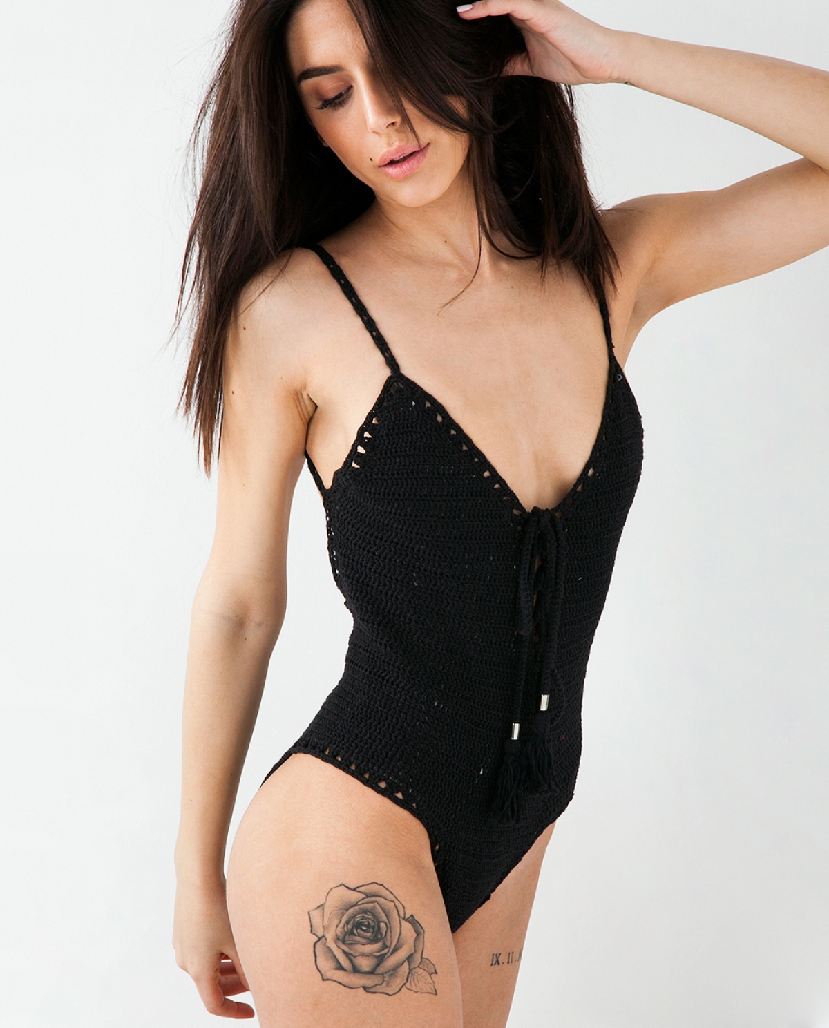 Yaimara Black Crochet Swimsuit