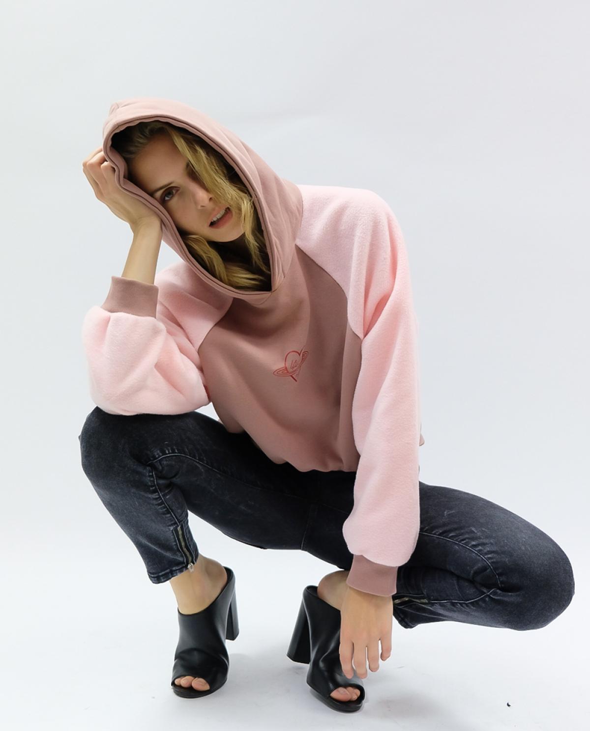Yavia Baby Pink Crop Hoodie