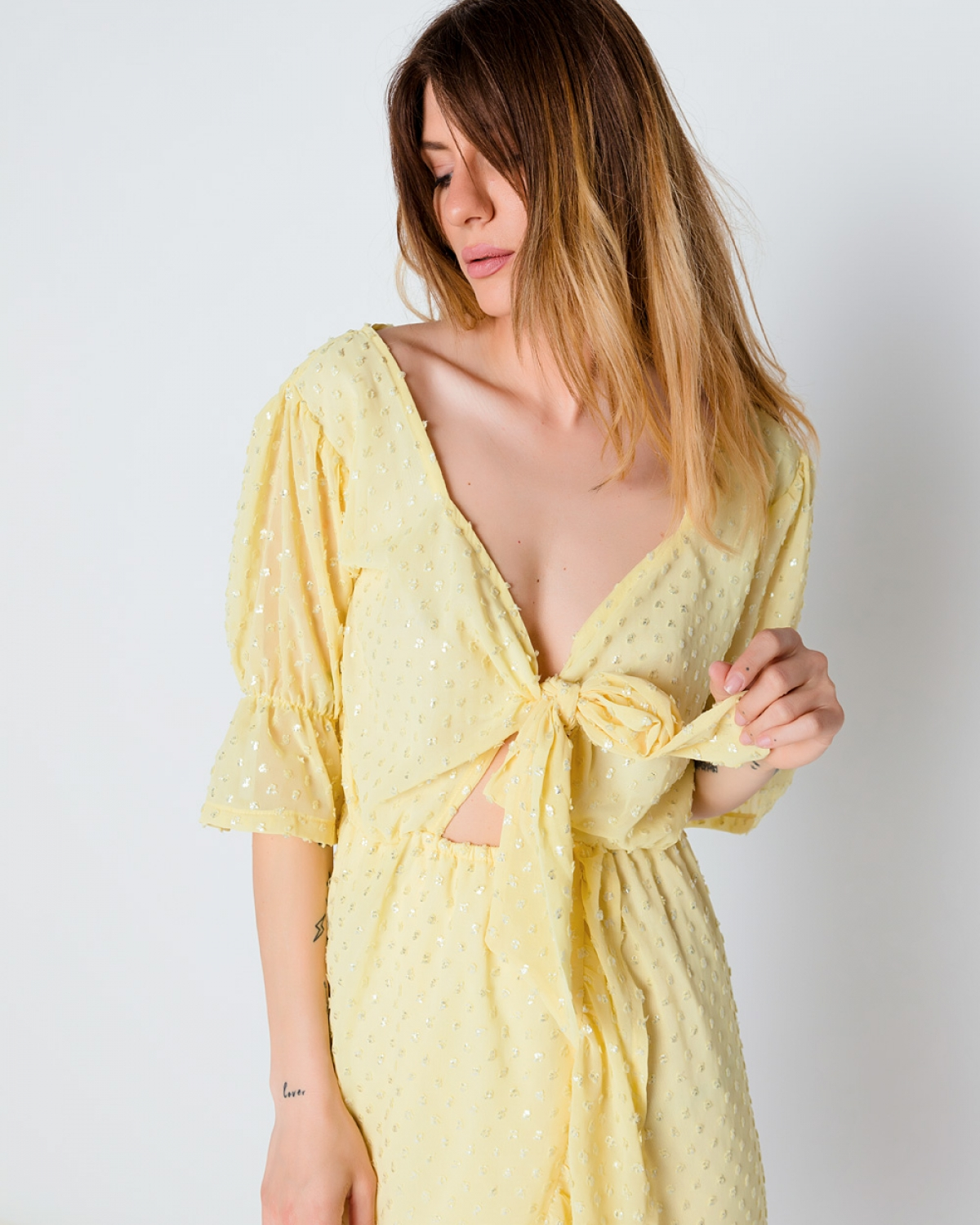 Yellow Over the Knee Wrap Dress