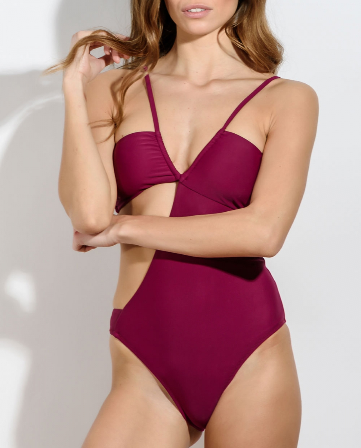 ZAXARA Raspberry Cutout Swimsuit