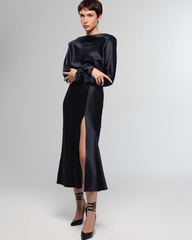 Zinnia Satin Black Dress