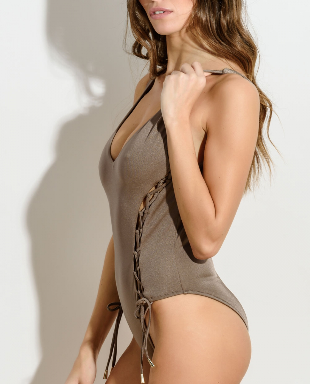ZOE Gold Lace-up Swimsuit